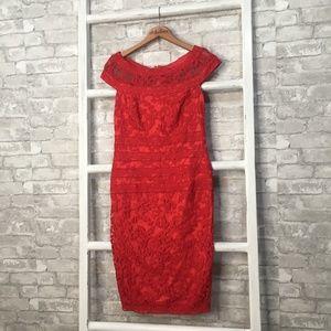 Tadashi Shoji Embroidered Banded Dress Red Size 8